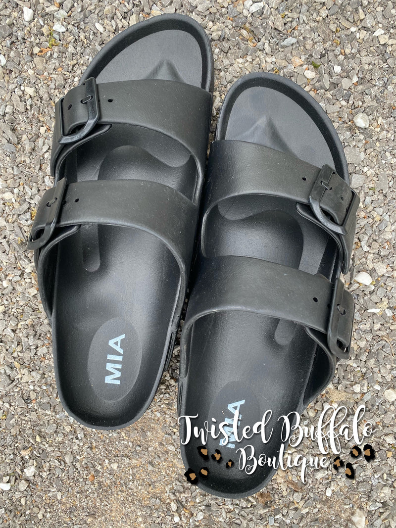 {JANTZEN} Black Double Buckle Slide Sandals