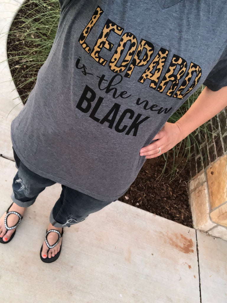 {LEOPARD IS THE NEW BLACK} Gray V-Neck Tee