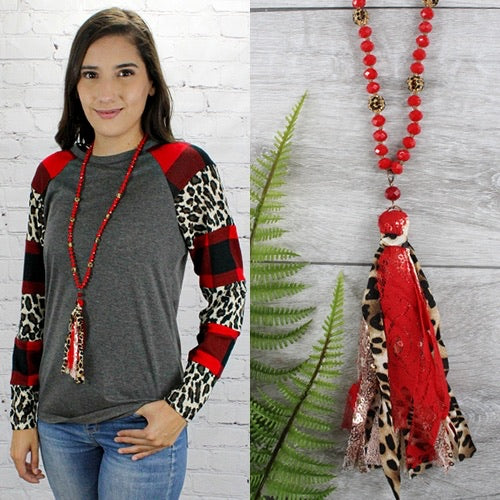 {ALEXIS} Red, Leopard, Rose Gold Mix Tassel Beaded Necklace