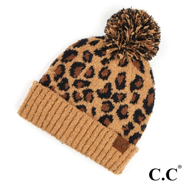 {LONDON} Brown LEOPARD Pom CC Beanie Hat