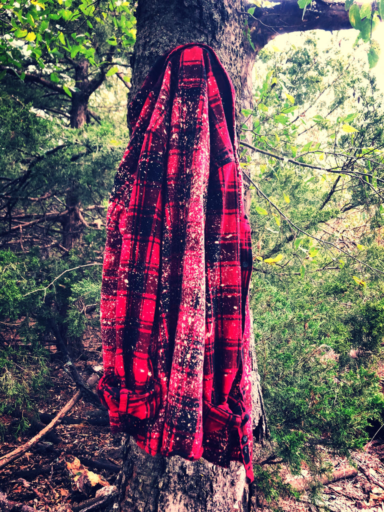 {LUMBERJACK} Red + Black Plaid Amarillo Distressed Flannel