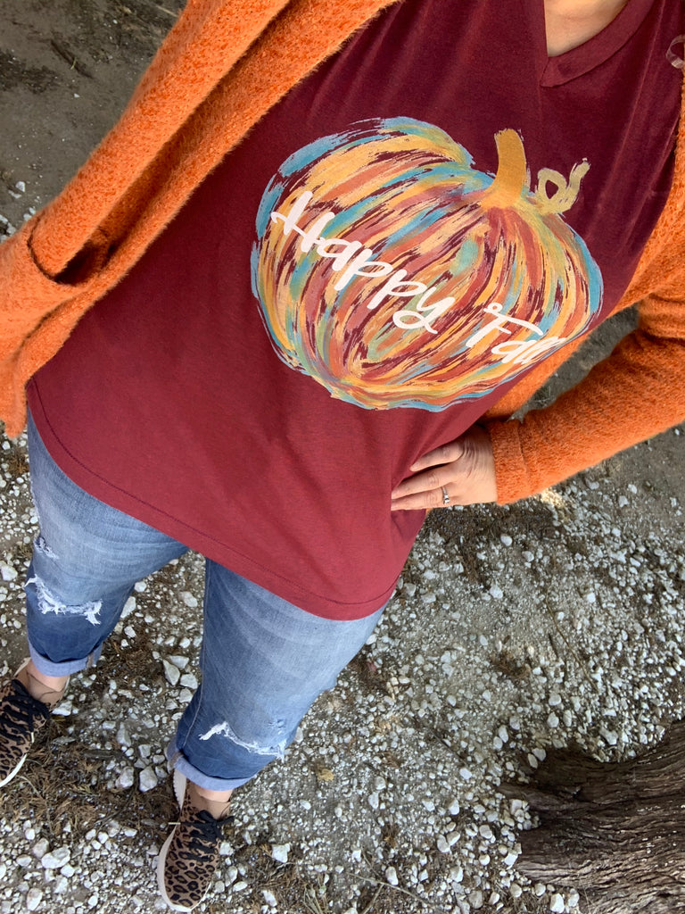 {DOODLE PUMPKIN} Colorful Happy Fall Cardinal V-Neck Tee