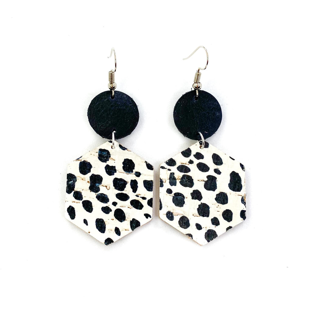 """Pongo"" Dalmatian Spots + Black Mix + Match Leather Earrings"