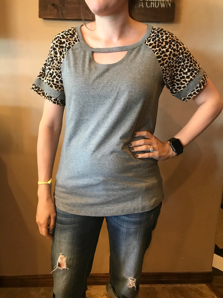 """Whitney"" Leopard & Gray Key Hole Top"