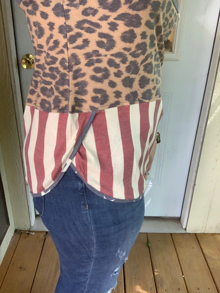 {TOP GUN} Patriotic + Leopard Top