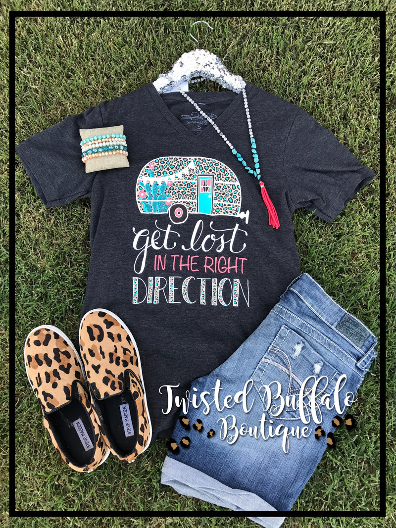 {GET LOST IN THE RIGHT DIRECTION} Leopard Camper Char-Black V-Neck Tee