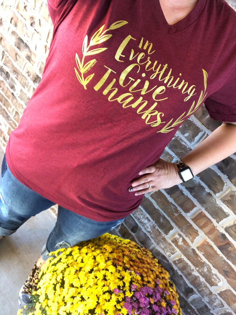 """In Everything Give Thanks"" Metallic Gold Cardinal V-Neck Tee"
