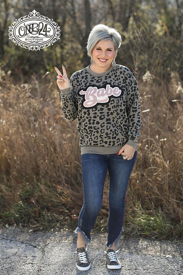 {BABE} Chenille Patch Custom Leopard Sweatshirt
