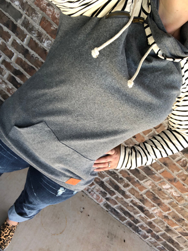 DoubleHood Hoodie:  Gray + Stripes {In The Hamptons} Stripe