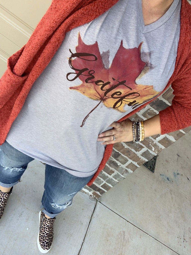 {FALL FOLIAGE} Colorful GRATEFUL Maple Leaf Athletic Gray V-Neck Tee