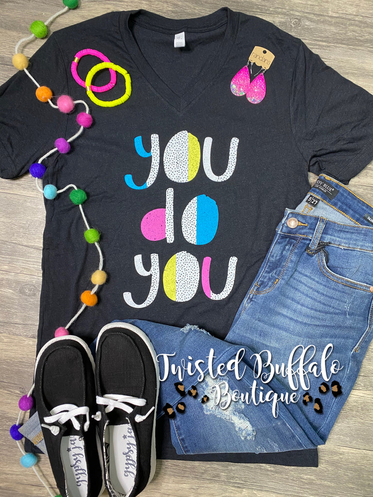{YOU DO YOU} Colorful Dots Black V-Neck Tee
