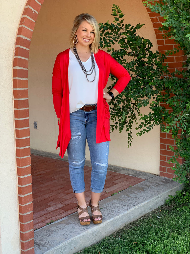 {CHERRY} Game Day Red Cardigan with Pockets