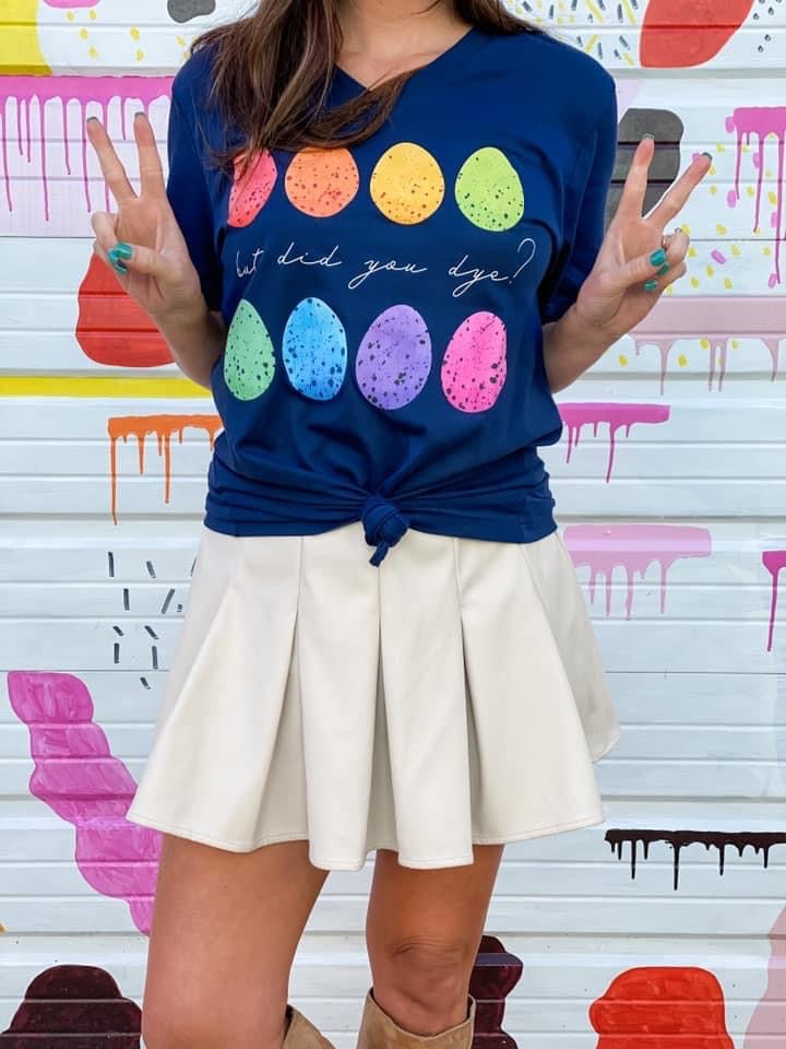 {BUT DID YOU DYE} Colorful Eggs Navy V-Neck Tee