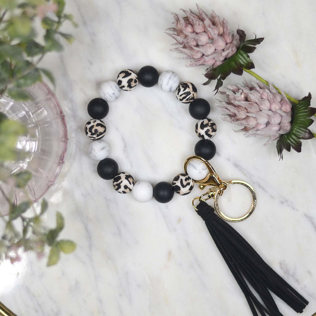 {{LOST IN THE WILD}} Leopard Silicone Beaded Keychain Keyring