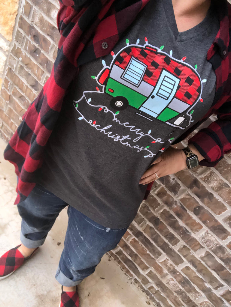 Vintage Camper Merry Christmas Charcoal V-Neck