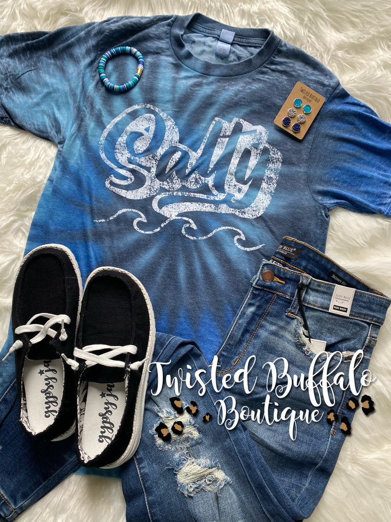 Blue Mix Acid Wash {SALTY} Crew Neck Tee