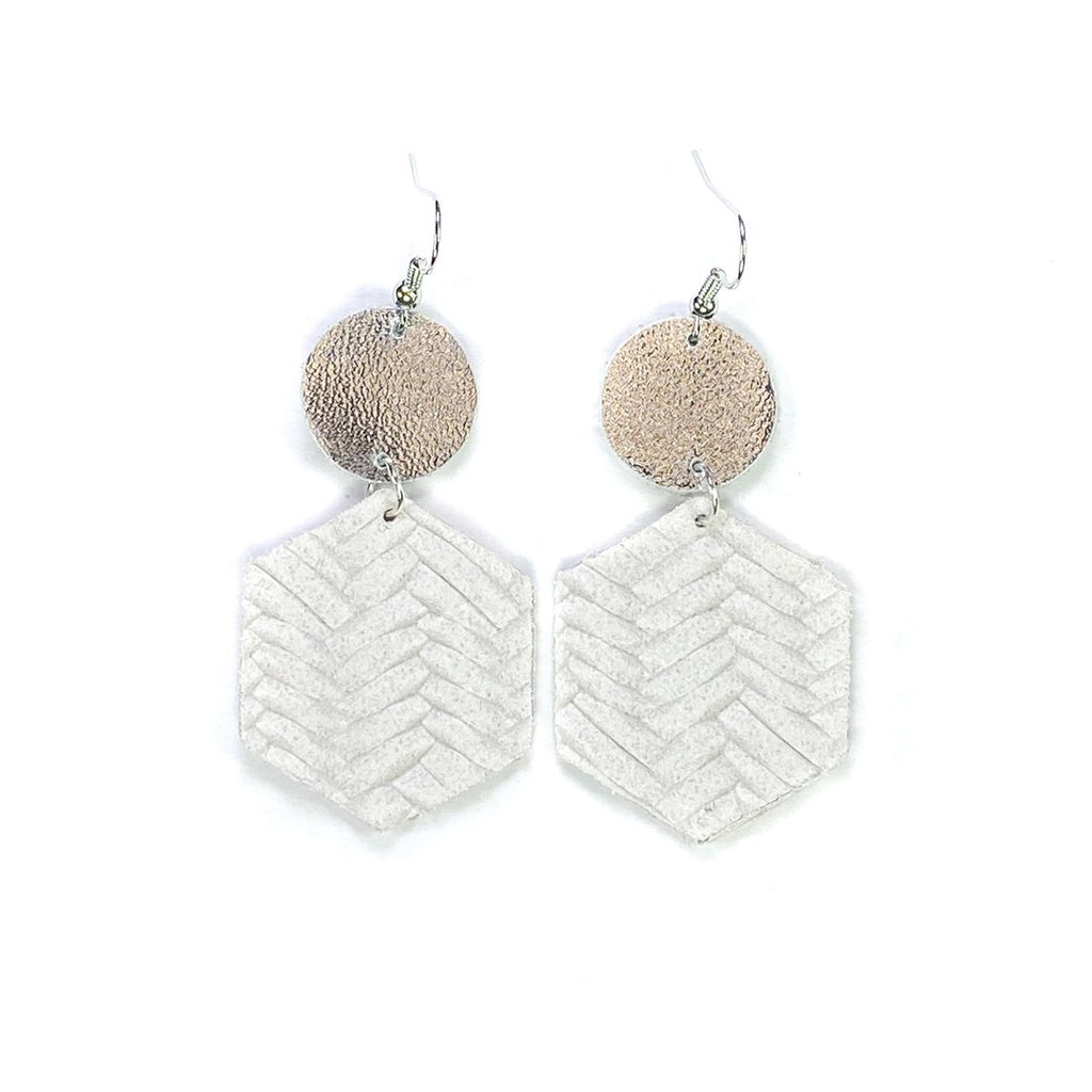 """Truman"" White + Silver Mix + Match Hexagon Leather Earrings"