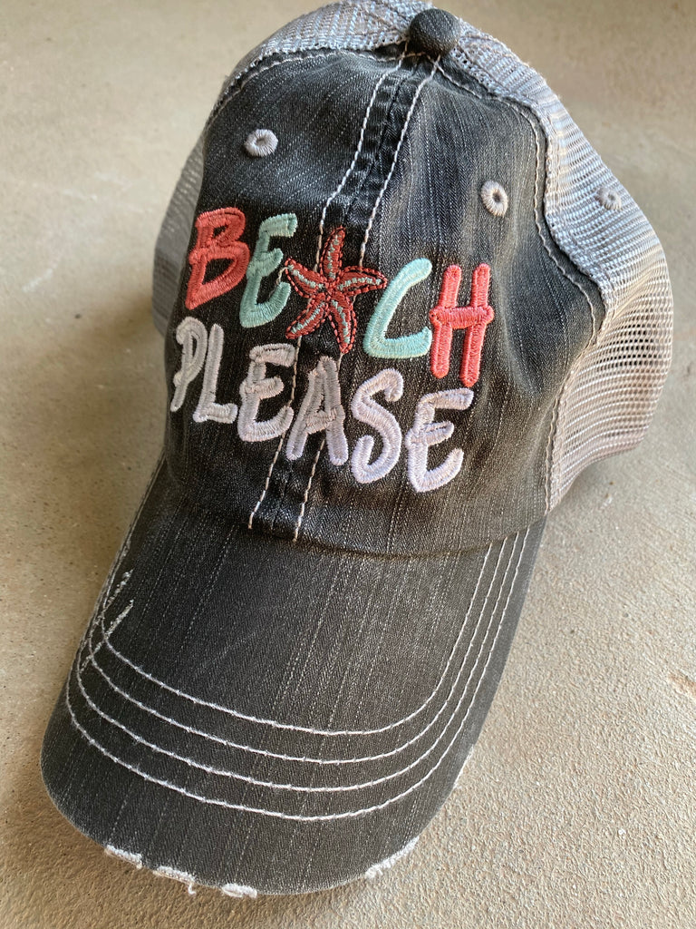{BEACH PLEASE} Embroidered Distressed Trucker Hat/Cap