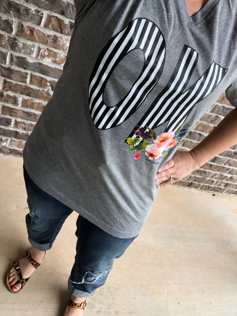 Bold Black/White Stripes & Floral OK Gray V-Neck Tee