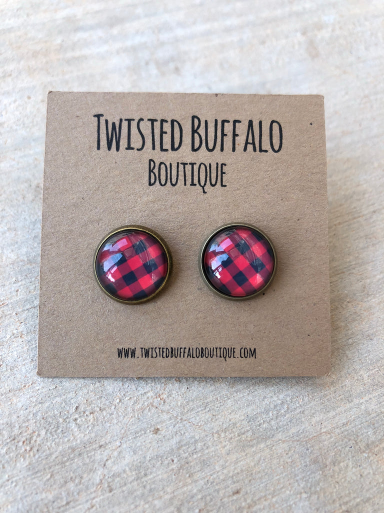 """Rudy"" Buffalo PLAID Red + Black {ROUND} 12mm Earrings"