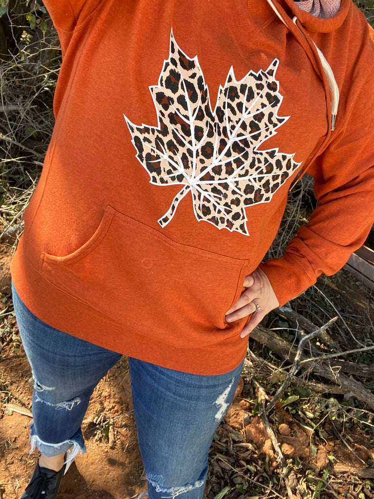 {LOVE IT OR LEAF IT} Leopard Leaf Heather Burnt Orange French Terry Hoodie Sweatshirt