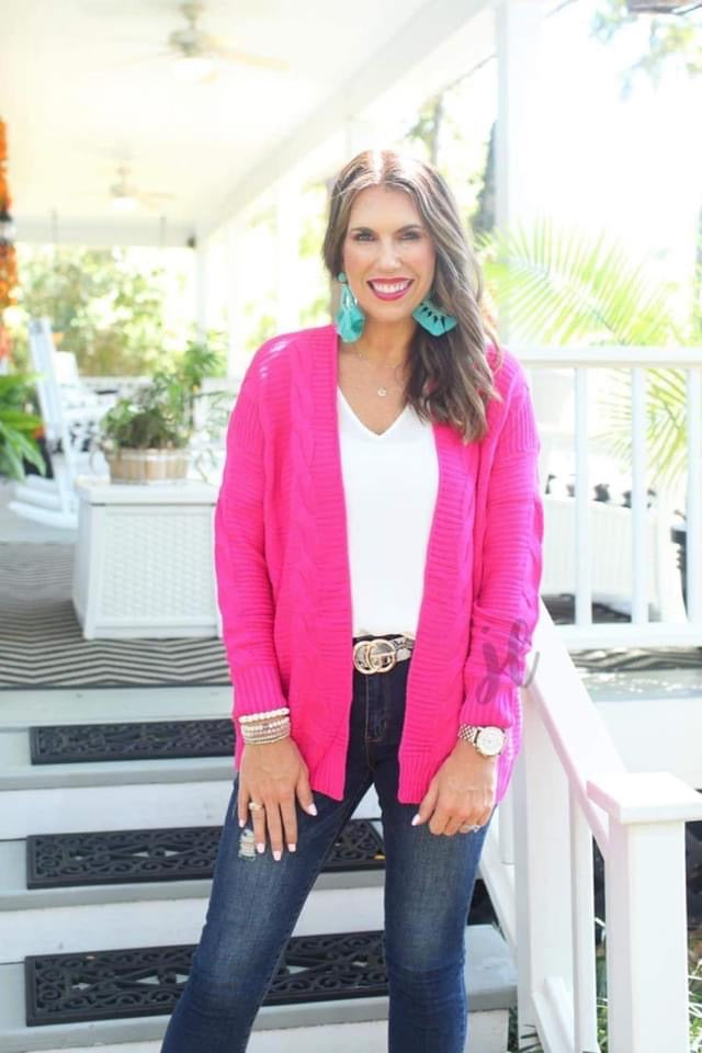 {CARSON} HOT PINK Cable Knit Sweater Cardigan