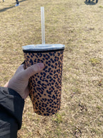 {LEOPARD PRINT} Insulated Drink Sleeve with Handle - Large