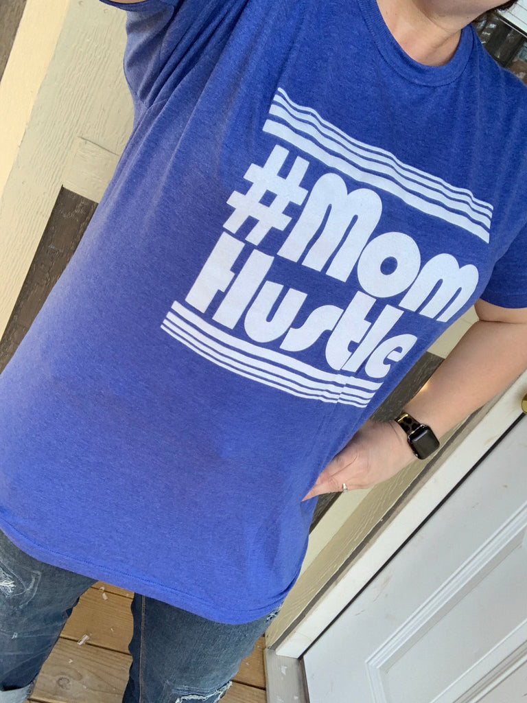 #Mom Hustle Royal Blue Crew Neck Tee