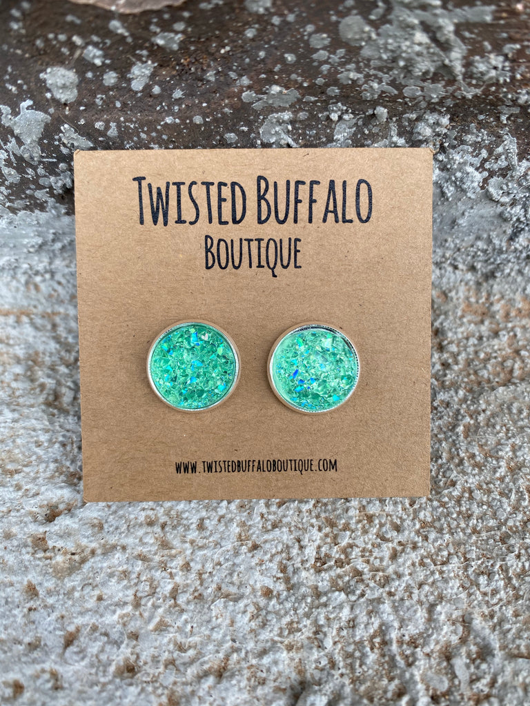 Mint To Tell You {ROUND} Mint Green Sparkle 12mm Druzy Earrings