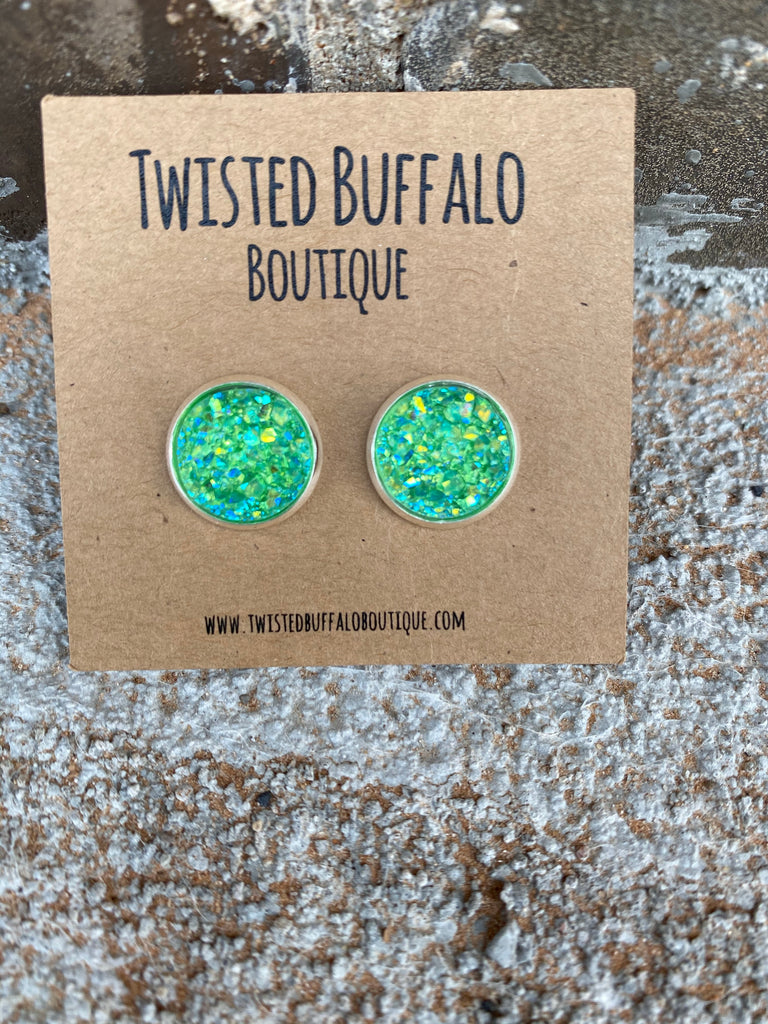 Emerald City {ROUND} Green Sparkly 12mm Druzy Earrings