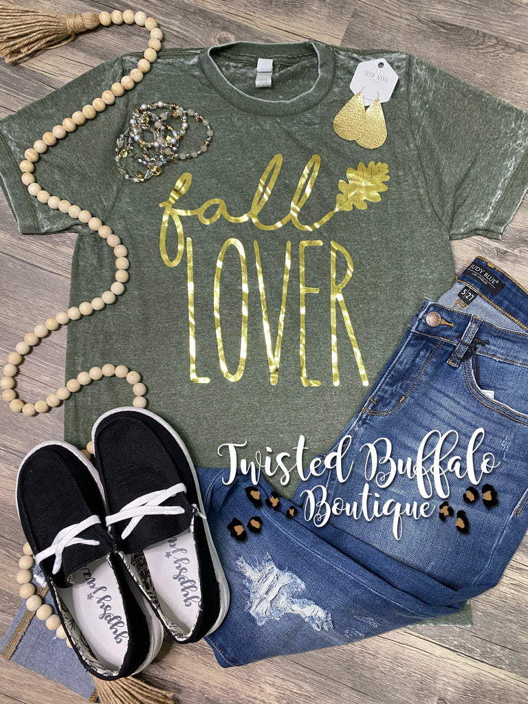 Acid Wash {FALL LOVER} Gold Foil Olive Green Crew Neck Tee