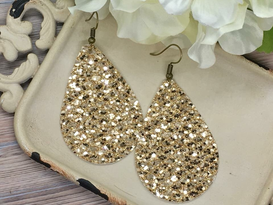 """Gatsby"" Gold Glitter Chunky Teardrop Earrings"