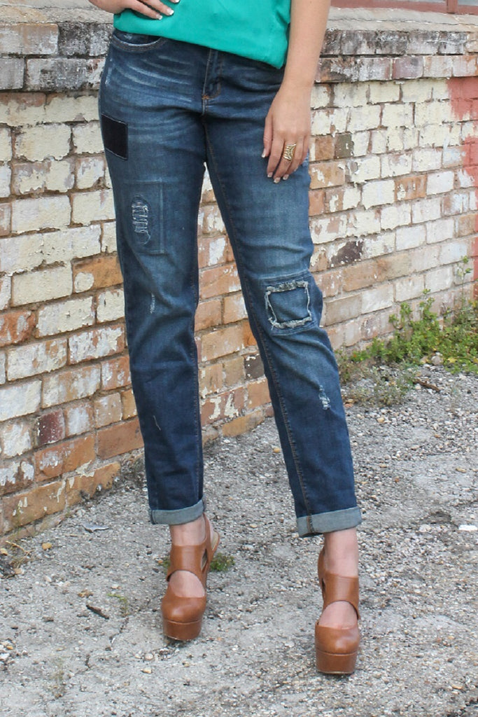 """Devon"" Dark Wash Denim Multi Patch Boyfriend Jeans (Size 4-24)"