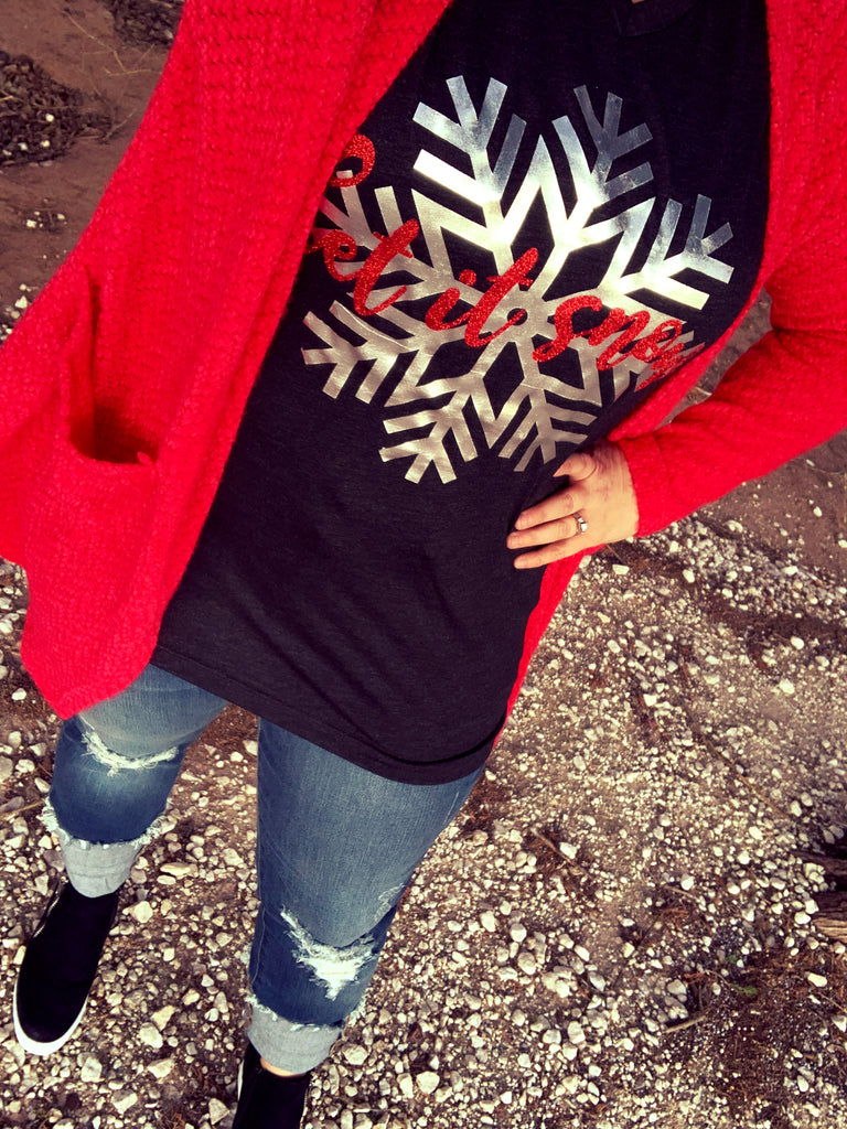 {LET IT SNOW} Red Glitter Char-Black V-Neck Tee