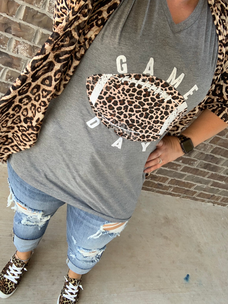 {LEOPARD FOOTBALL} Game Day Gray V-Neck Tee
