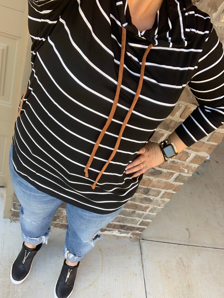 {MONICA} Black + White Striped Hoodie With Elbow Patches + Pockets