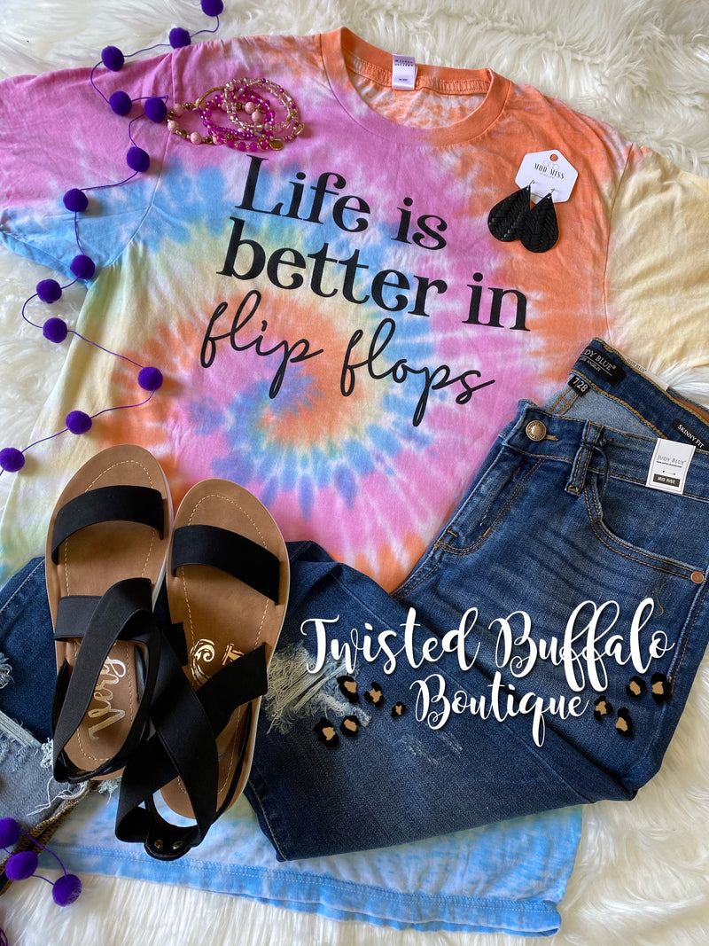 {LIFE IS BETTER IN FLIP FLOPS} Super Soft Pastel Colored Acid Wash Crew Neck Tee