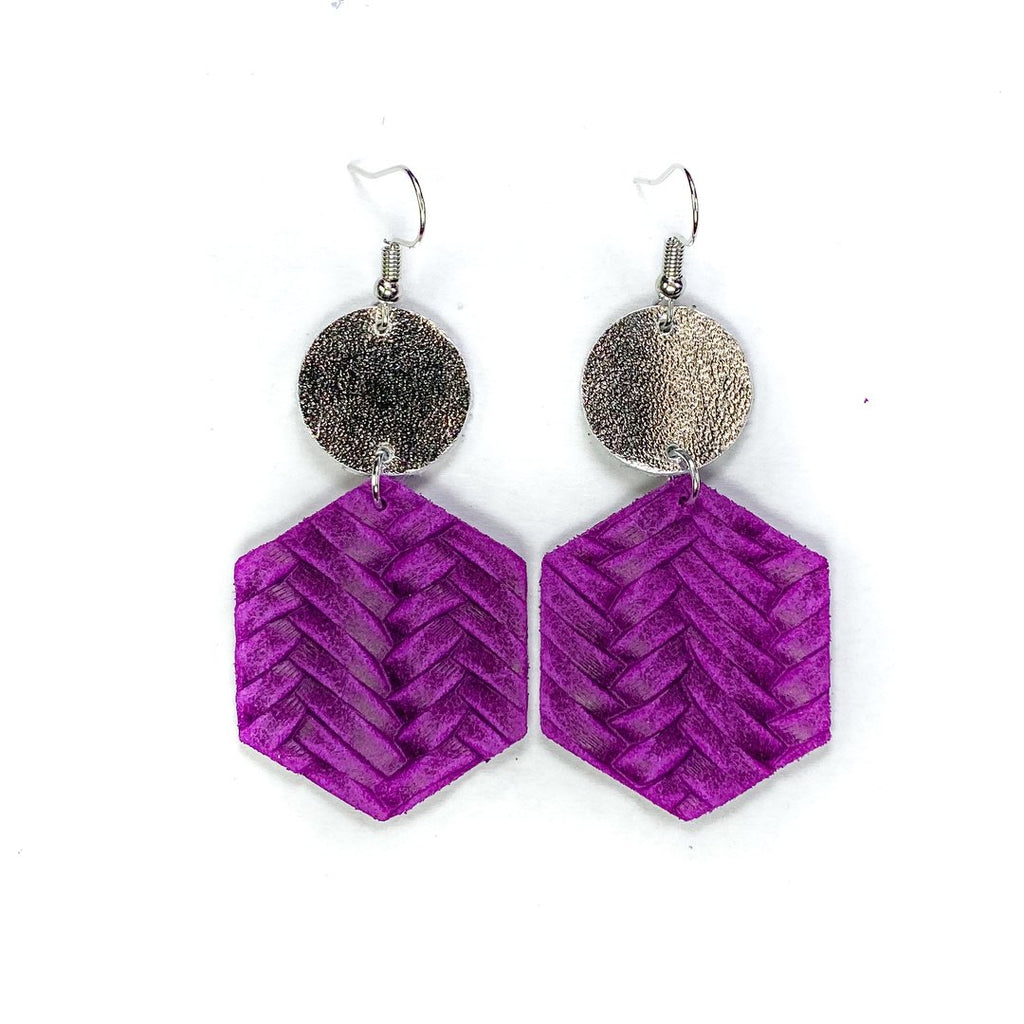 """Grapette"" Violet + Silver Mix + Match Hexagon Leather Earrings"