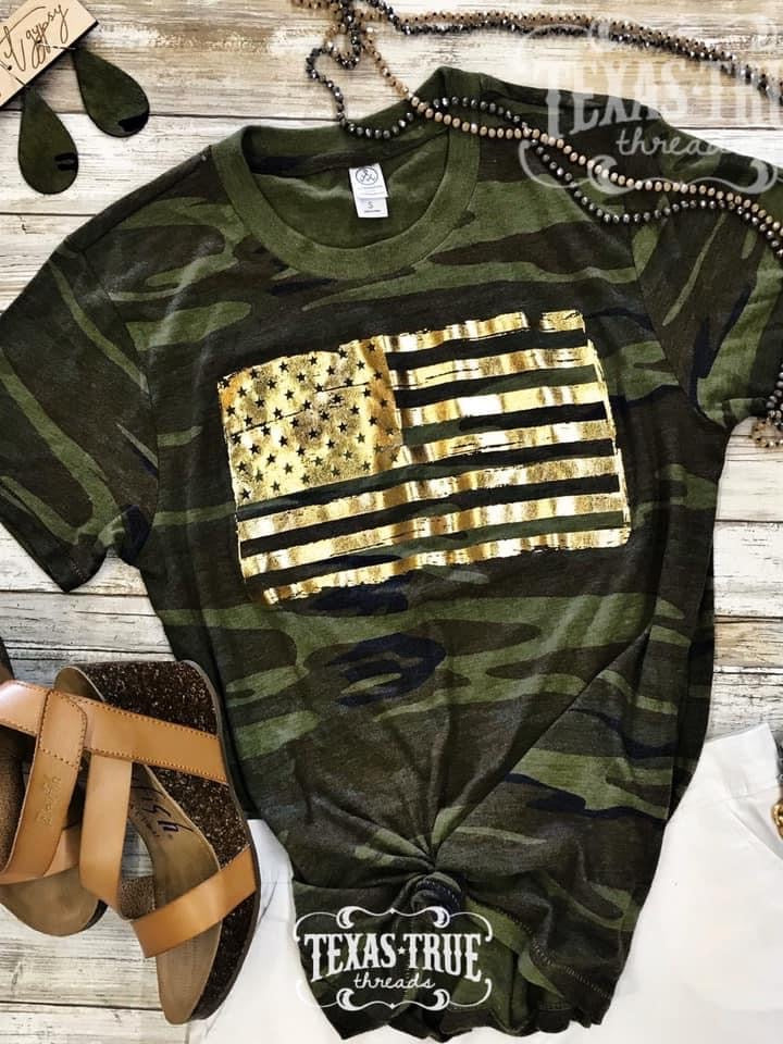 {GOLD FOIL FLAG} Crazy Soft Camouflage Crew Neck Tee