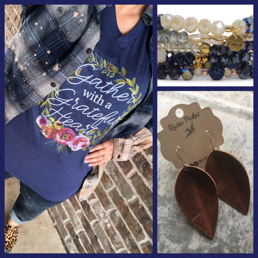 Gather With A Grateful Heart {FLORAL} Heather Navy V-Neck Tee