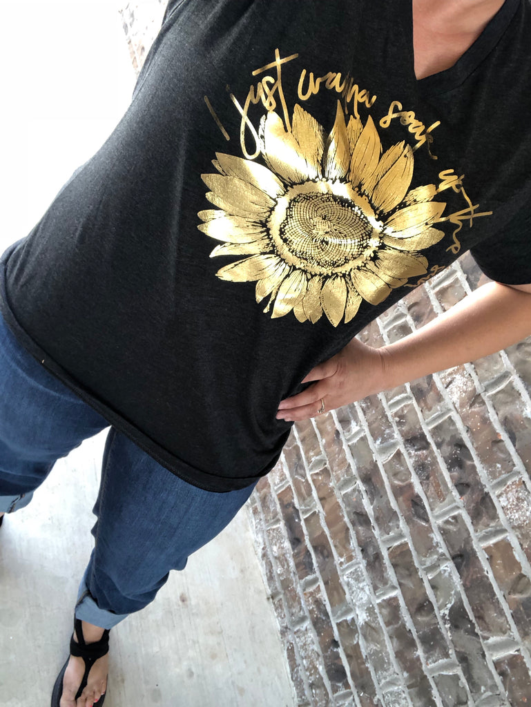 Sunflower:  Soak Up The Sun Gold Foil Black V-Neck Tee