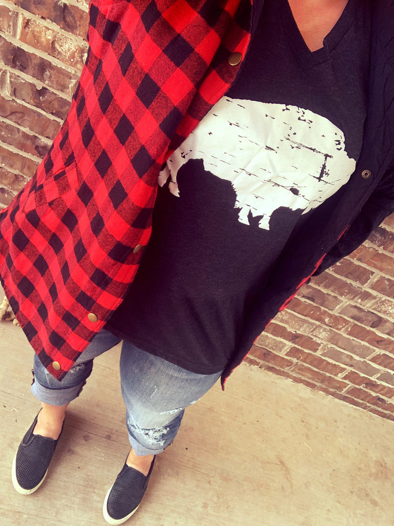 {AXE AXE AXE} Red + Black Buffalo Plaid Vest With Pockets