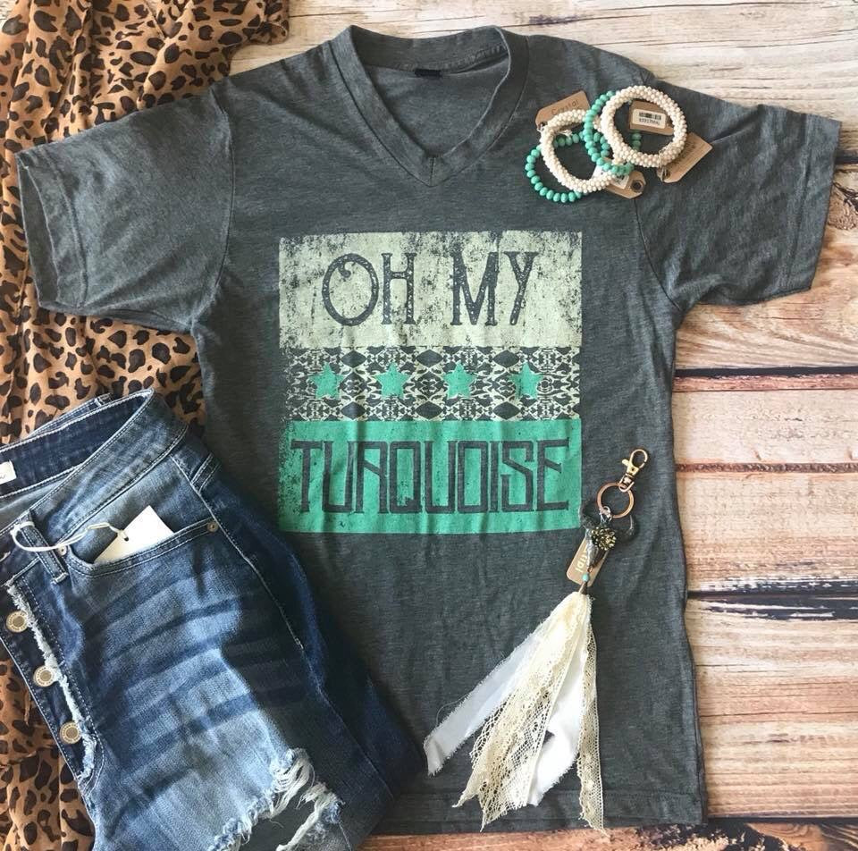 OH MY TURQUOISE Gray V-Neck Tee