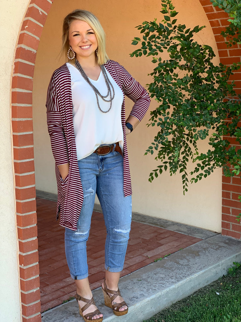 {MAGIC} Maroon + White Striped Cardigan with Pockets