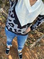 {DEEP IN THE WILD} Grayscale Leopard Comfy Sweater
