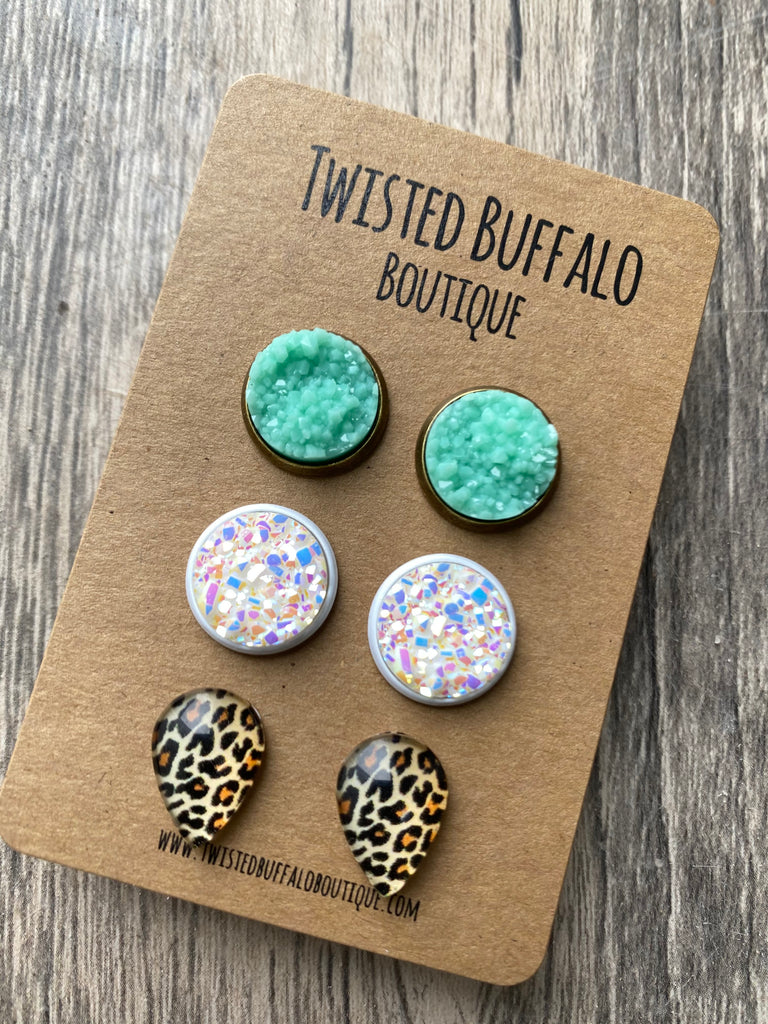 Esther Collection {ROUND} Mint, White Sparkle + Leopard Druzy 12mm Earrings Set