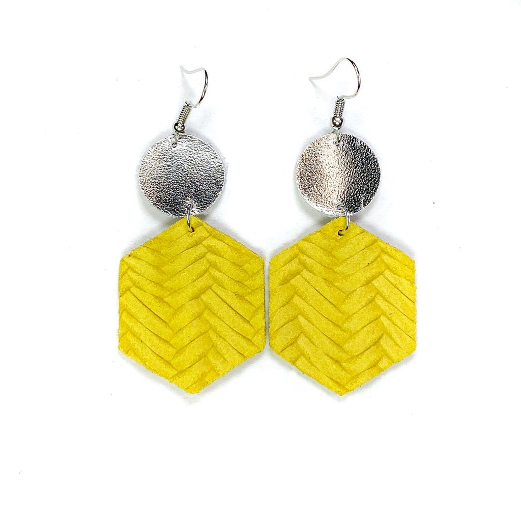 """Banana"" Yellow + Silver Mix + Match Hexagon Leather Earrings"