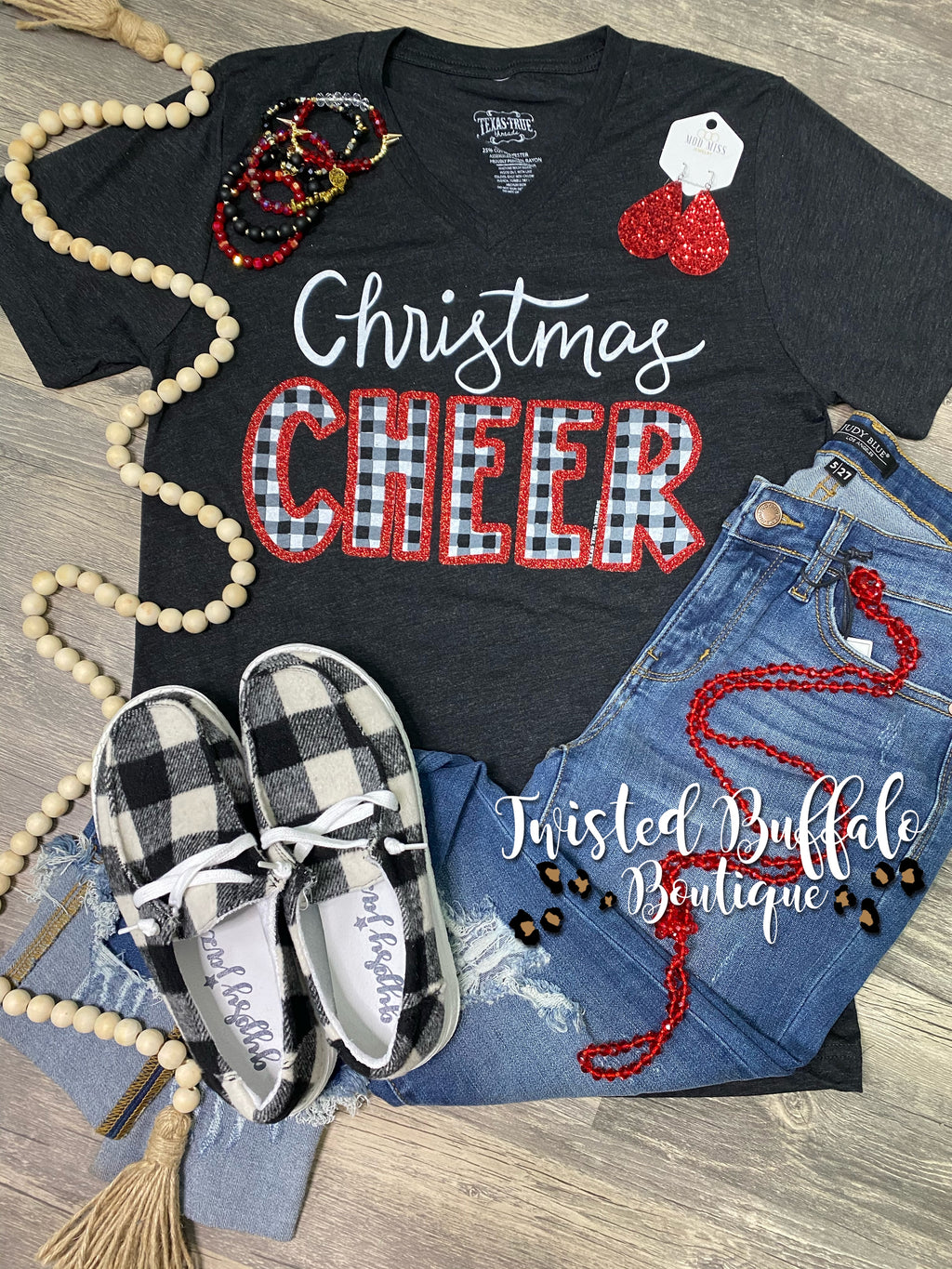 {CHRISTMAS CHEER} Black + White Plaid + Red Glitter Black V-Neck Tee