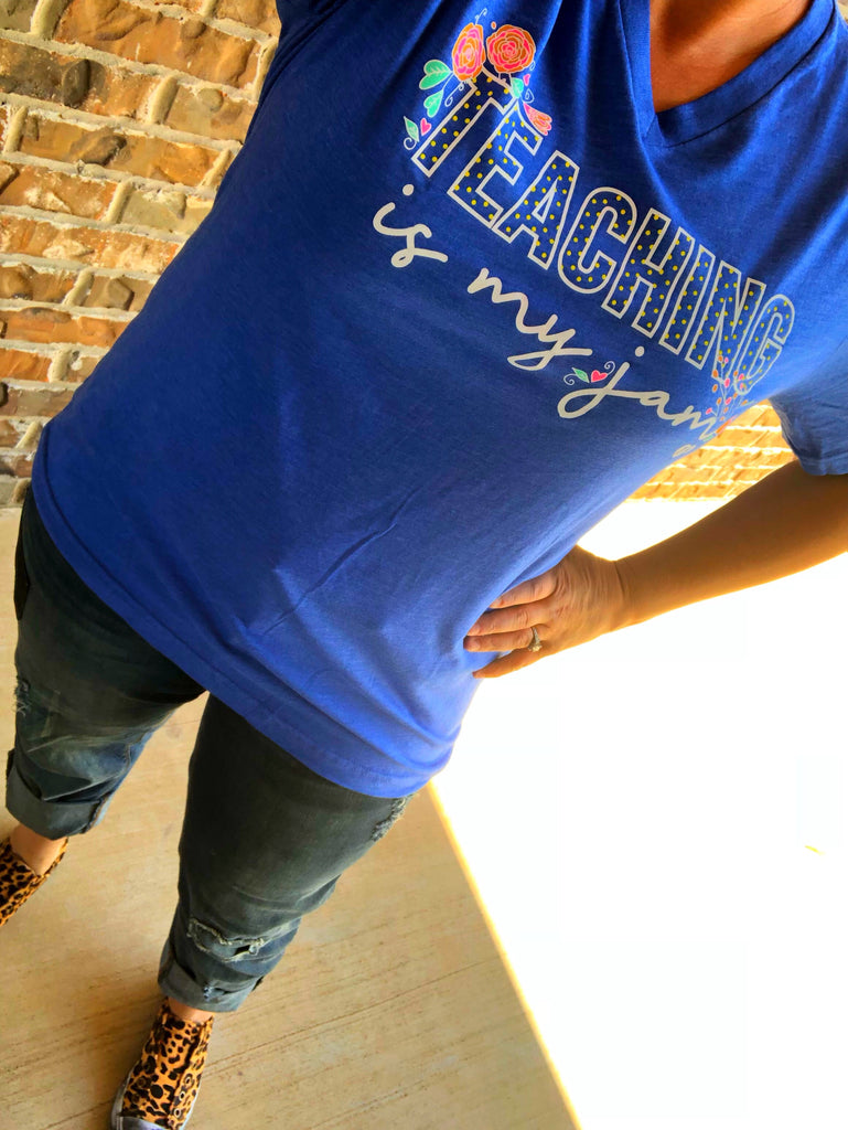 Teaching is My Jam Floral Royal Blue V-Neck Tee