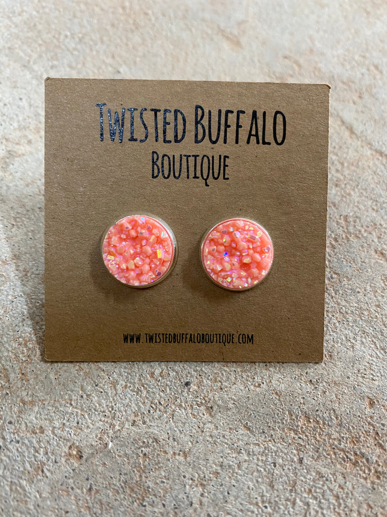 Princess Peach {ROUND} Peach Pink Sparkly Sparkly 12mm Druzy Earrings